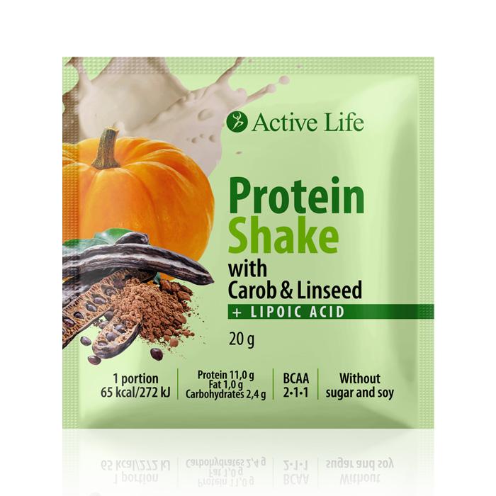 proteinový koktejl s karobem a lněným semínkem